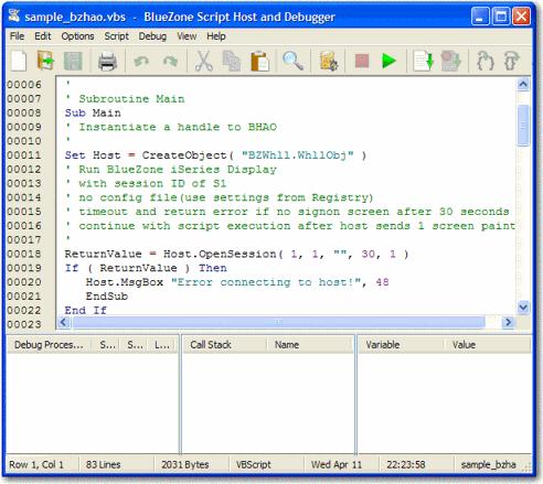 BlueZone scripting host