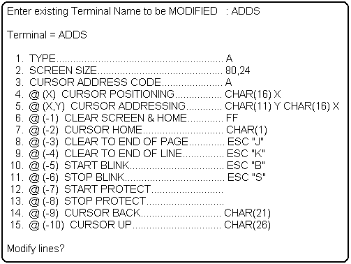 Selecting and Defining Terminal Types